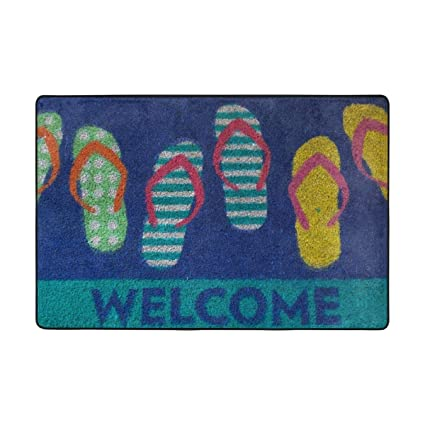 2bb556462 Amazon.com   Yves Horace Non-Slip Doormat Colorful Flip Flop Welcome ...