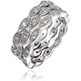 """BLOOMCHARM """"My Fate"""" 18K Gold Plated Cubic Zirconia Engagement Wedding Ring, Gifts for Women Girls"""