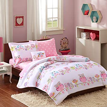 girls owl bedding full pink white blue green purple orange comforter set sheets pillowcases