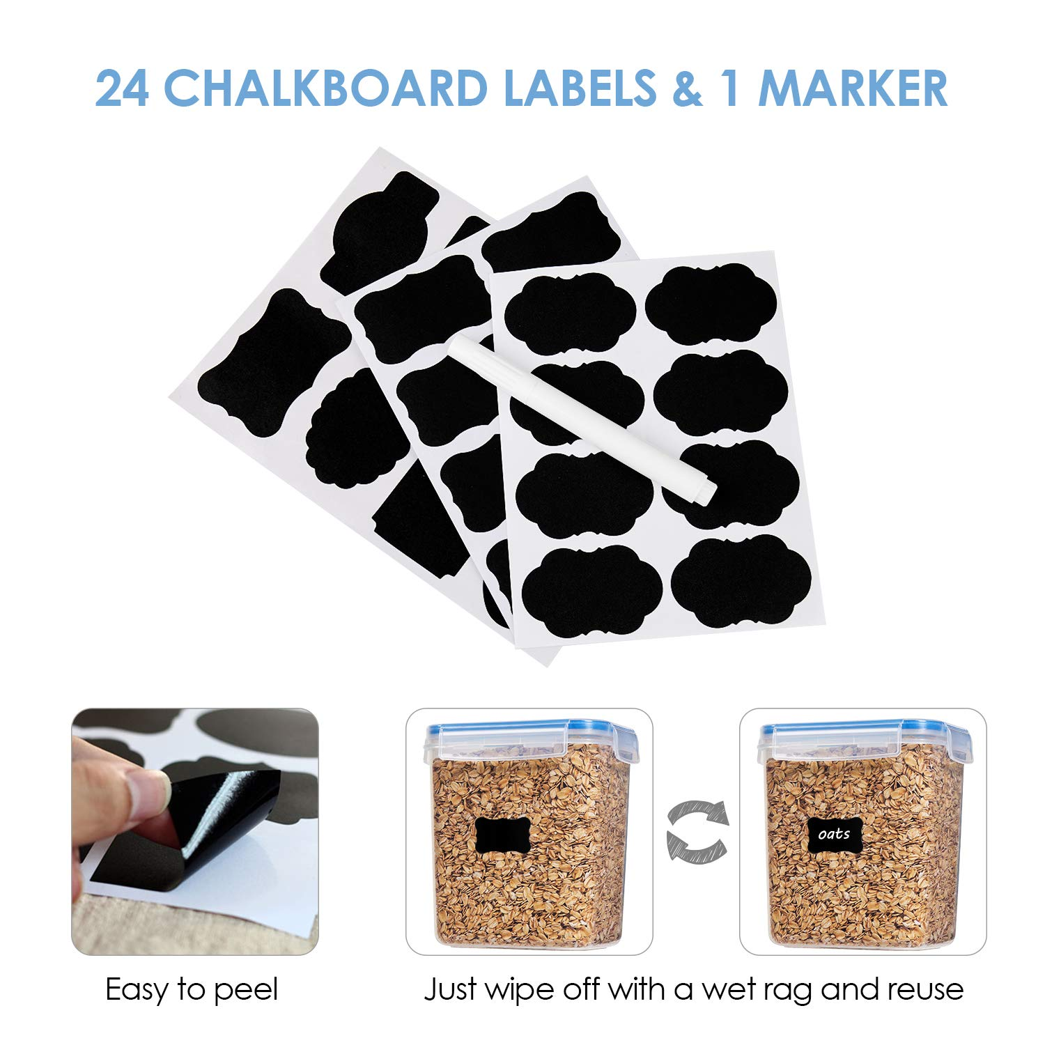 Vtopmart Airtight Food Storage Containers 12 Pieces - Plastic PBA Free Kitchen Pantry Storage Containers for Sugar,Flour and Baking Supplies - Dishwasher Safe - 24 Chalkboard Labels and 1 Marker by Vtopmart (Image #6)