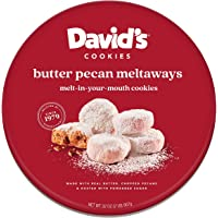 David's Cookies Gourmet Cookies Butter Pecan Meltaway – 32oz Butter Cookies with Crunchy Pecans and Powdered Sugar – All…