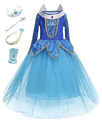 f86310d67b957 Eleasica Filles Manches Longues déguisement de La Belle au Bois Dormant en  Tulle Costume Diadème Gants