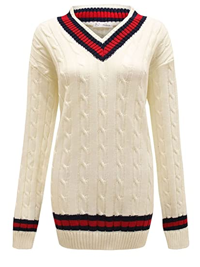 7cd33376a5e Mens Womens Unisex Plus Size V Neck Cable Knit Cricket Jumper Sweater  Pullover UK 16-26  Amazon.co.uk  Clothing