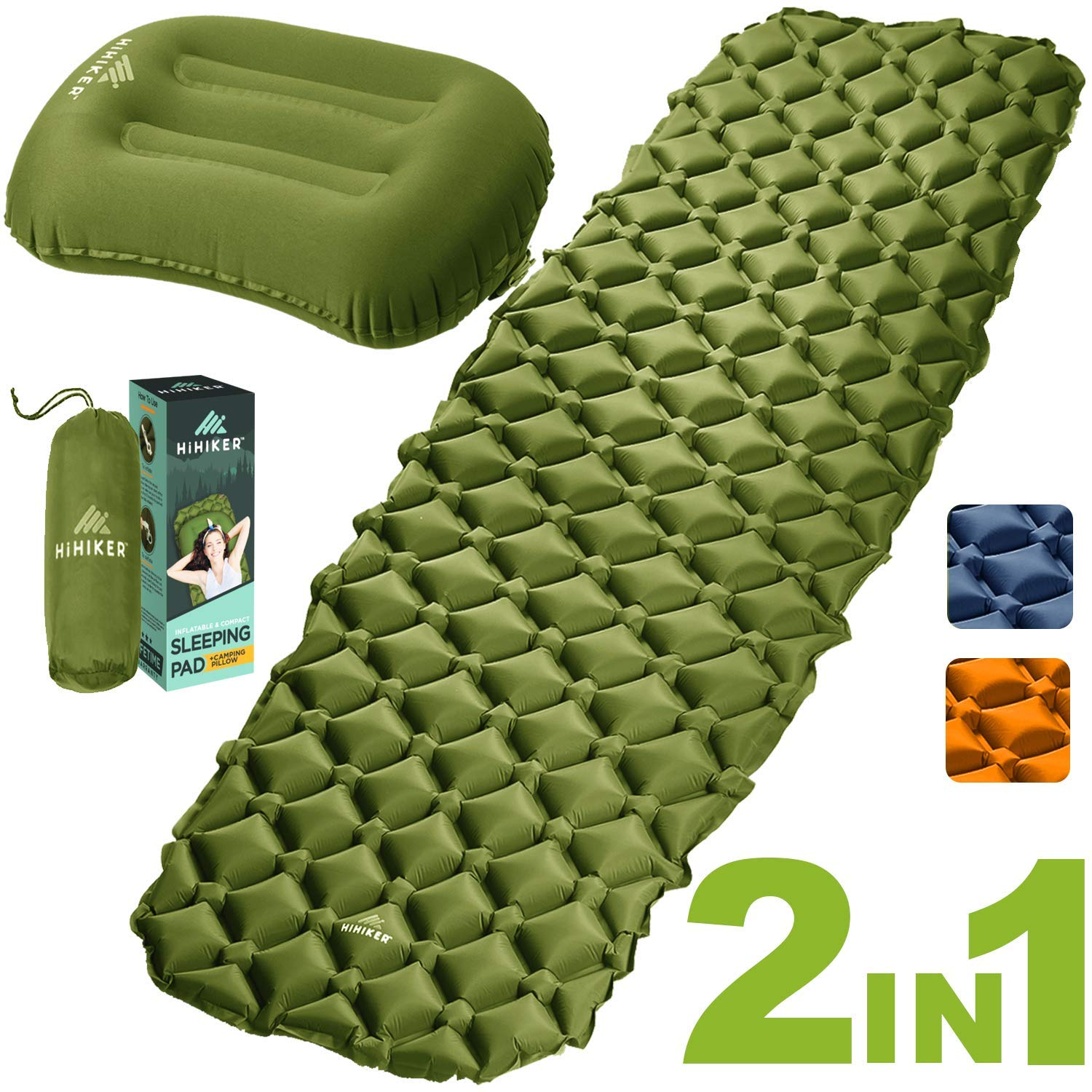 HiHiker Camping Sleeping Pad + Inflatable Travel Pillow - Ultralight Backpacking Air Mattress w/Compact Carrying Bag -Sleeping Mat for Hiking Traveling & Outdoor Activities (Green) by HiHiker