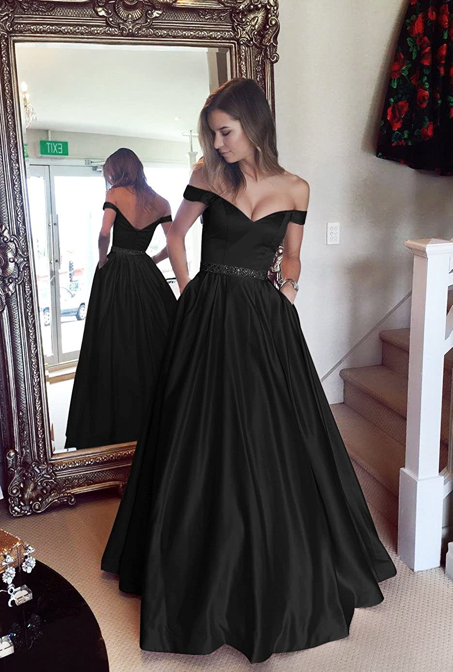8698b66018 Amazon.com  Harsuccting Off The Shoulder Beaded Satin Evening Prom Dress  with Pocket  Clothing