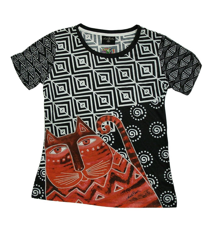 Laurel Burch Women's Shirt, Red Feline