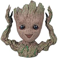 Flowerpot Treeman Baby Groot Succulent Planter Cute Green Plants Flower Pot with Hole Pen Holder Groot Action Figures Guardians of The Galaxy Flowerpot Baby Cute Model Toy Pen Pot Best Gift