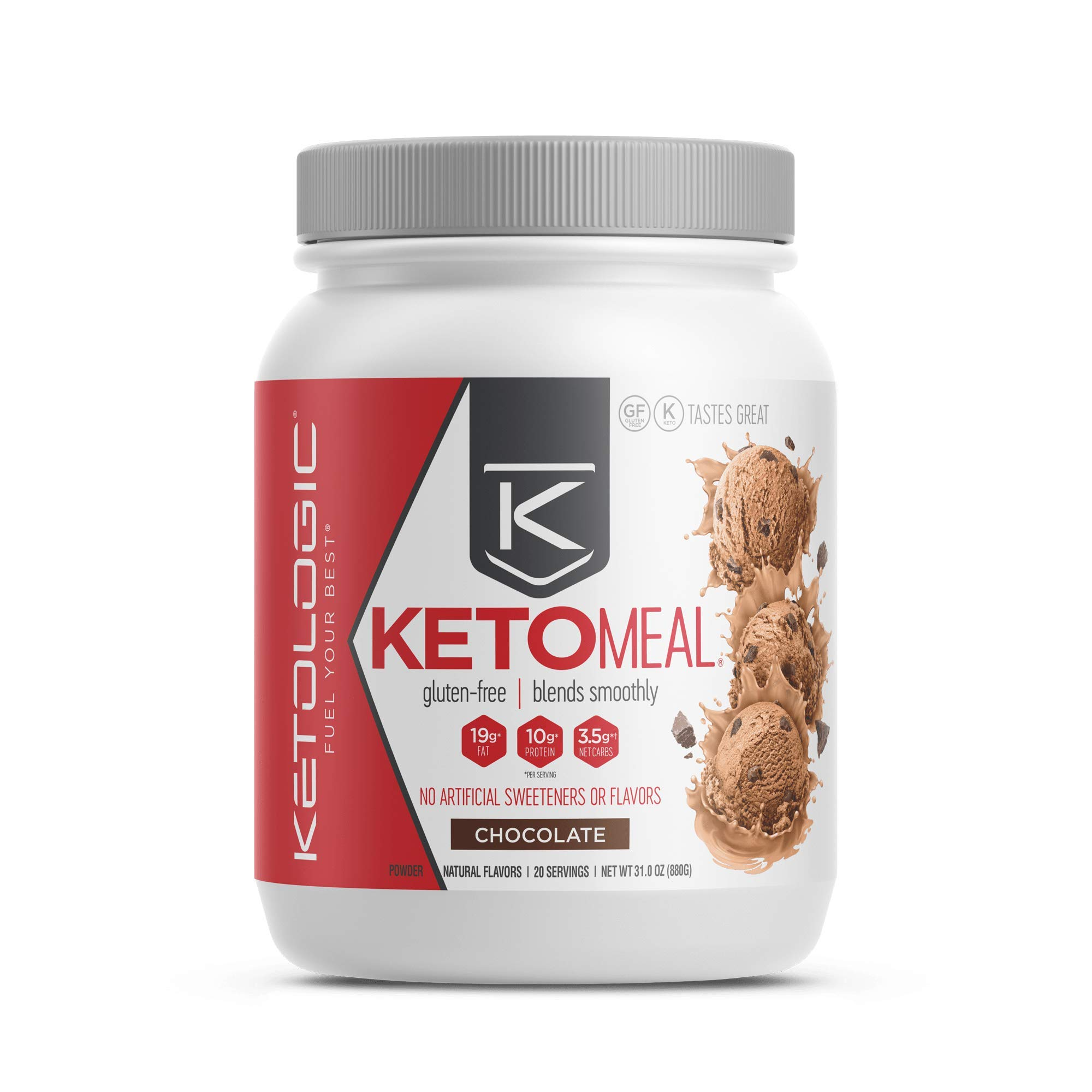 KetoLogic Keto Meal Replacement Shake with MCT, Chocolate | Low Carb, High Fat Keto Shake | Promotes Weight Loss & Suppresses Appetite | 20 Servings by Ketologic