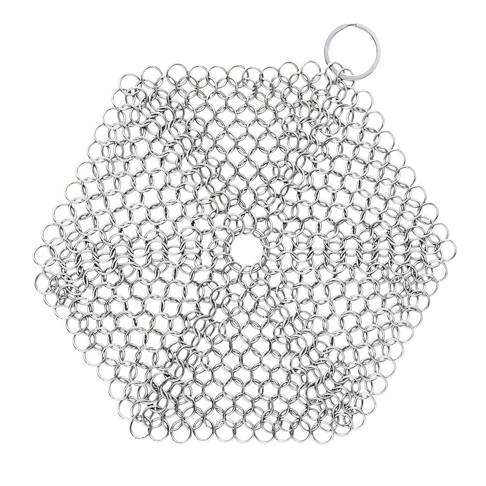Chainmail Scrubber Zanmini Stainless Steel Cast Iron Cleaner, Durable Brush Cleaner For Pots, Skillets, Griddle Pans, BBQ Grills and More, Cookware Cleaning With Hanging Ring Silver Best Gift for Family(Hexagon) Gearbest UK
