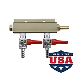 """The Weekend Brewer 2-way 1/4"""" Barb CO2 Splitter Distributor Manifold with Integrated Check Valves"""