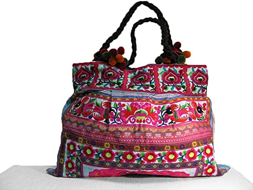 283af5882279 Image Unavailable. Image not available for. Color  Thailand Embroidered Boho  Thai Hill Tribe Hmong Handmade Floral Light Blue   Pink Large Tote Purse