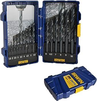 15 piezas HSS Juego de brocas Irwin de engranajes 1,5 mm - 10 mm Metal taladro de ingeniero juego de, acero, plástico: Amazon.es: Bricolaje y herramientas