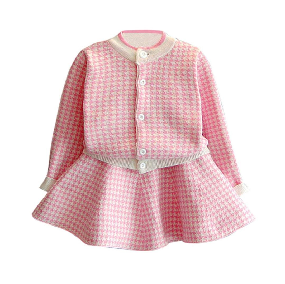 FEITONG Little Girls Plaid Knitted Sweater Coat Tops+ Skirt Set (3-4Years, Pink)