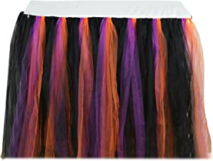 vLoveLife 100cm Black & Purple & Orange Tulle Tutu Table Skirt Tableware TableCloth For Halloween Theme Party Decorations Favor