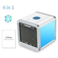 Fitfirst Refroidisseur d'Air Mini Ventilateur Evaporatif 4in1 Refroidisseur d'Air Portatif Humidificateur et Purificateur, Climatiseur de Bureau avec 3 Vitesses et 7 Couleurs de LED Lumière de Nuit