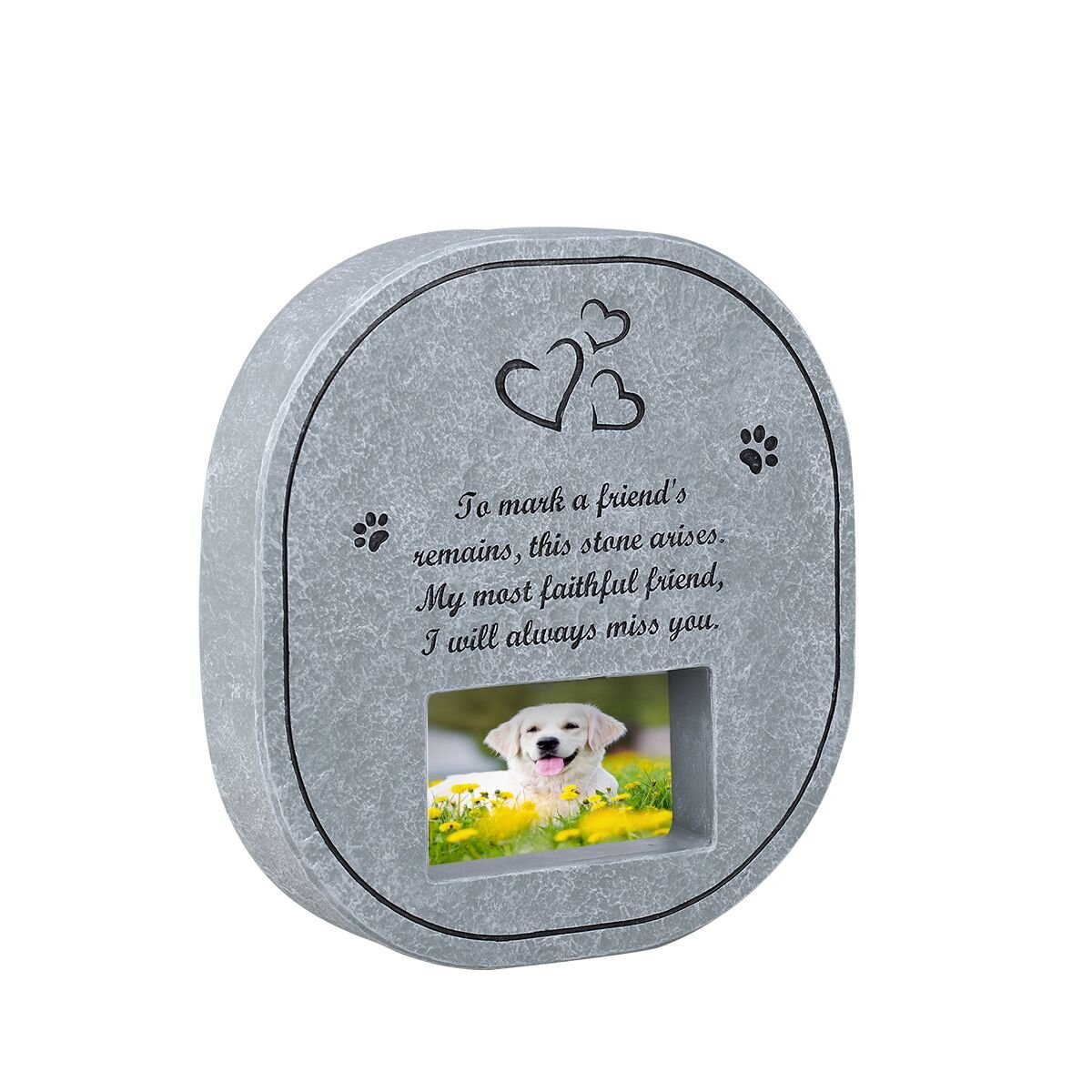 UEETEK Pet Memorial Stone Tombstone with Waterproof Photo Frame, Memorial for Loss of Dog or Cat
