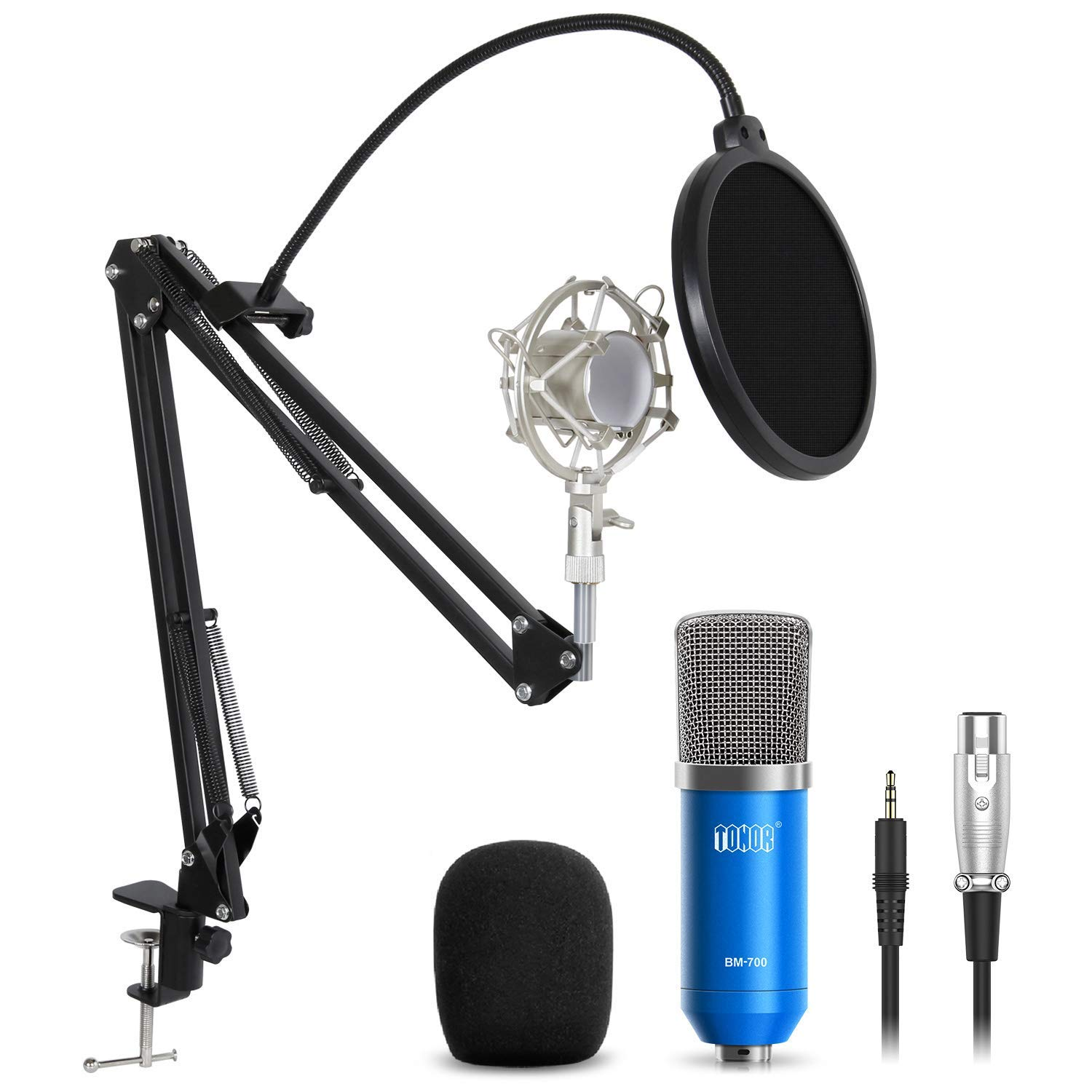 TONOR Professional Studio Condenser Microphone Computer PC Microphone Kit with 3.5mm XLR/Pop Filter/Scissor Arm Stand/Shock Mount for Professional Studio Recording Podcasting Broadcasting, Blue by TONOR