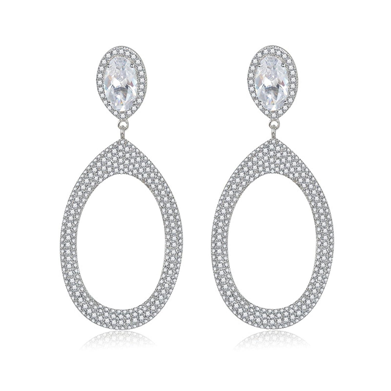 Beydodo Gold Plated Earrings Stud for Womens Drop Ring White Cubic Ziconia Earrings Wedding Earrings
