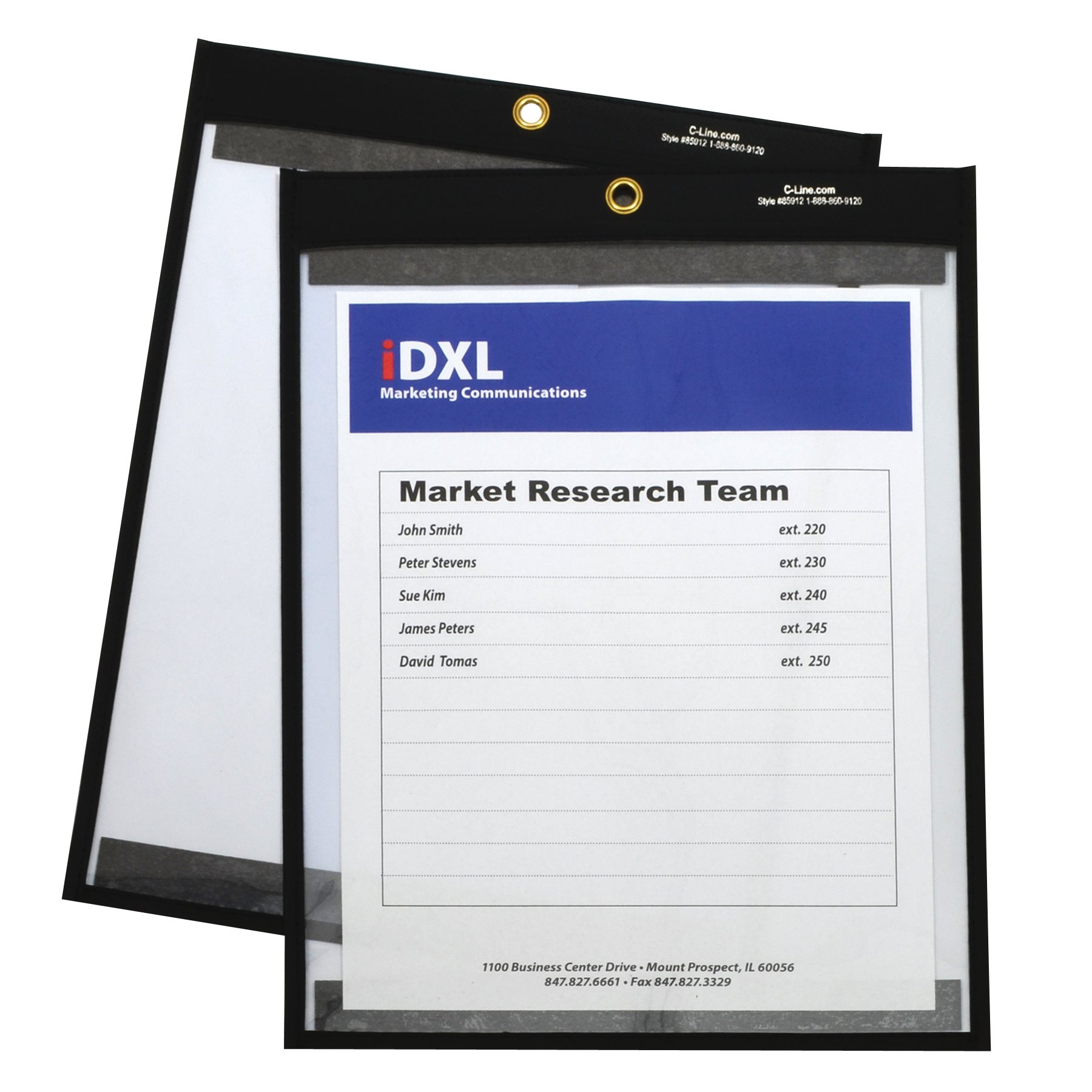 C-Line 9 x 12 Inches Clear on Both Sides Magnetic Stitched Shop Ticket Holder, Box of 25 (85912) by C-Line