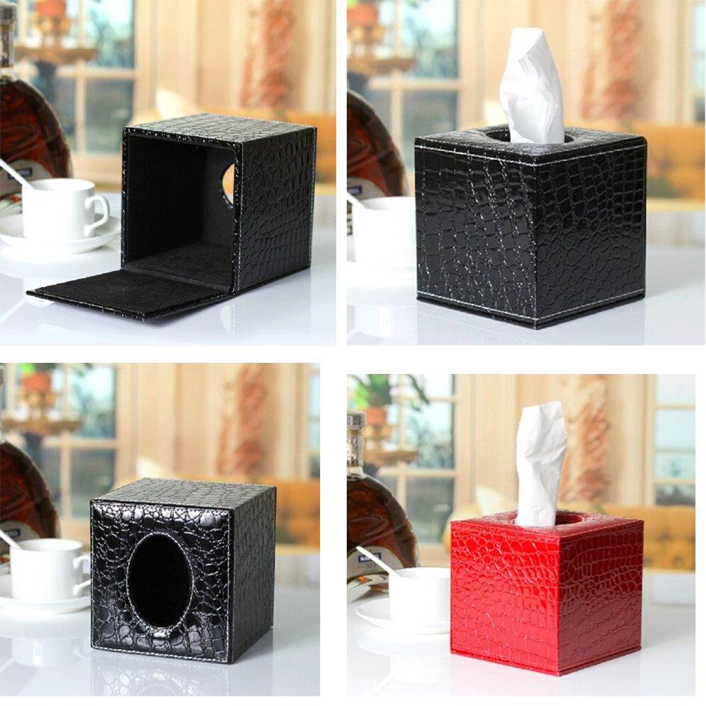 13,5 cm Blanco 13,5 JUNGEN Fundas para caja de pa/ñuelos de cuero en forma de cubo 14