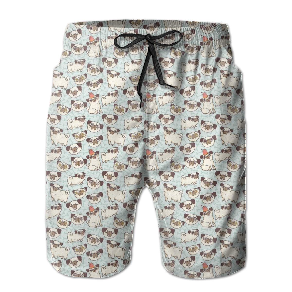 HZamora/_H Men Lovely Pug Dogs Summer Breathable Quick-Drying Swim Trunks Beach Shorts Cargo Shorts
