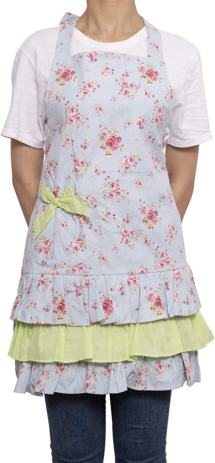 Durable Canvas Kitchen Apron for Cooking Baking Style Doris NEOVIVA Gardening Apron for Women with Pocket BBQ and Grilling Floral Ballad Blue