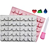 Heart, Cloud & Waterdrop Silicone Mold 2 Pack - BPA Free, LFGB/FDA Approved, Perfect for Homemade Gelatin Gummies, Candies, Chocolate, Ice Cubes, Bonus Dropper Included
