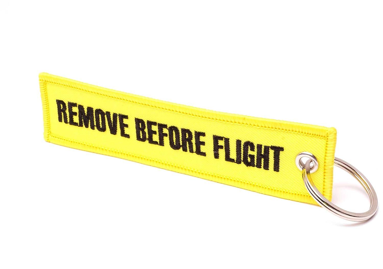 REMOVE BEFORE FLIGHT /® Llavero Camouflage//Wei/ße Schrift