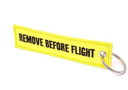 REMOVE BEFORE FLIGHT ® Llavero, Gelb/Schwarze Schrift ...