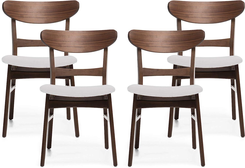 Christopher Knight Home Helen Mid-Century Modern Dining Chairs (Set of 4), Light Beige, Walnut