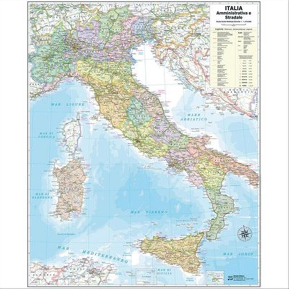 Italia Cartina Autostradale.Italia Amministrativa E Stradale Carta Grande Amazon It Cancelleria E Prodotti Per Ufficio