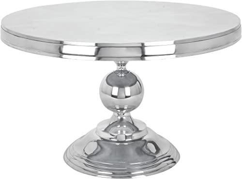 Deco 79 30780 Small Traditional Style Metallic Silver Round Coffee Table