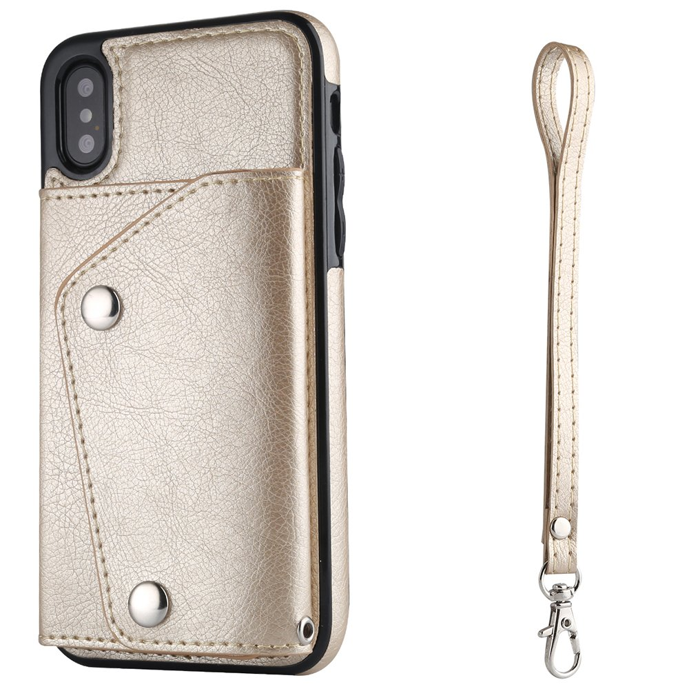 For iphone XS MAX Phone Case Wallet Cover with Card Holder Hand Strap, Rose Gold FLY HAWK