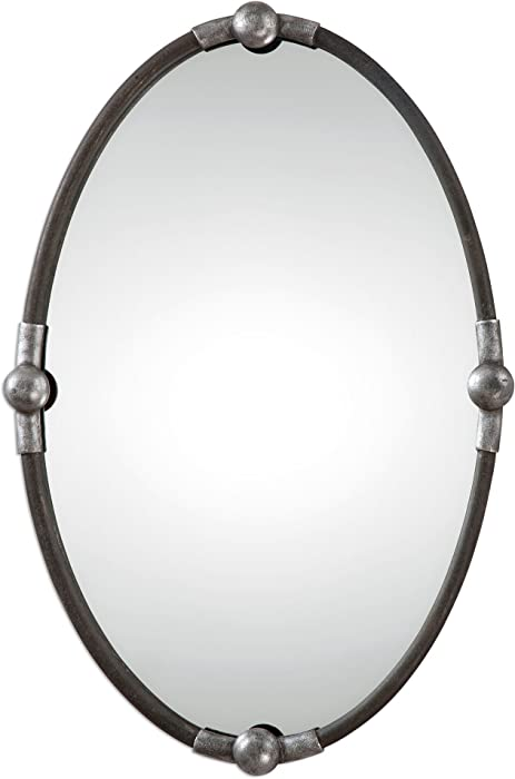 MY SWANKY HOME Rustic Black Iron Oval Wall Mirror | Vanity Silver Contemporary Industrial