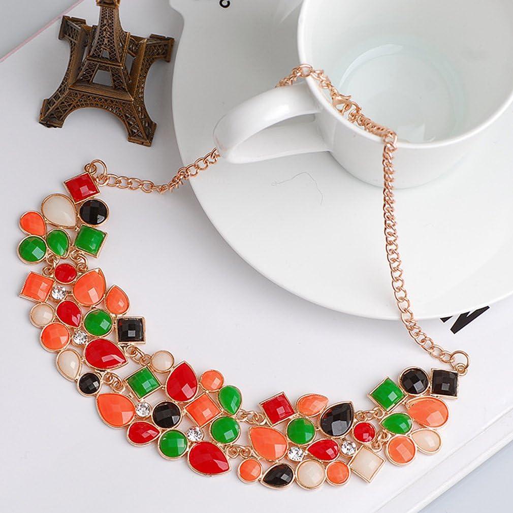 Yazilind Colorful D/'claration Cuissard Collier Ras du Cou Pendentif en Cristal Collier Chunk Femmes Chain