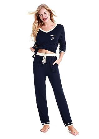 huge discount 6bf10 508e6 NORA TWIPS Schlafanzüge für Damen, Damen Schlafanzug, Pyjama für Damen,  Damen Pyjama Nachtwäsche Set Loungewear PJ Set(MEHRWEG)