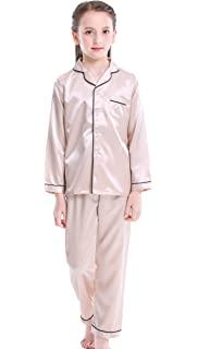 Unisex Kid Girls Boys Silk Pajamas Set Satin Short Sleeve Pajamas PJS 2 Piece for 2-12 Years Big Girls Clasic Sleepwear