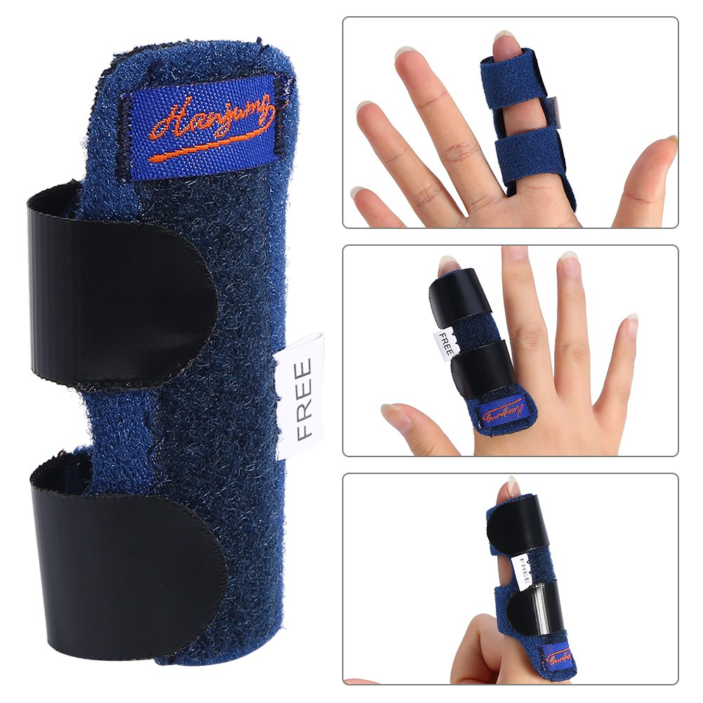 Finger Splint Straightening Brace, Adjustable Fixing Belt with Built-in aluminium support for Finger Tendon Release & Pain Relief