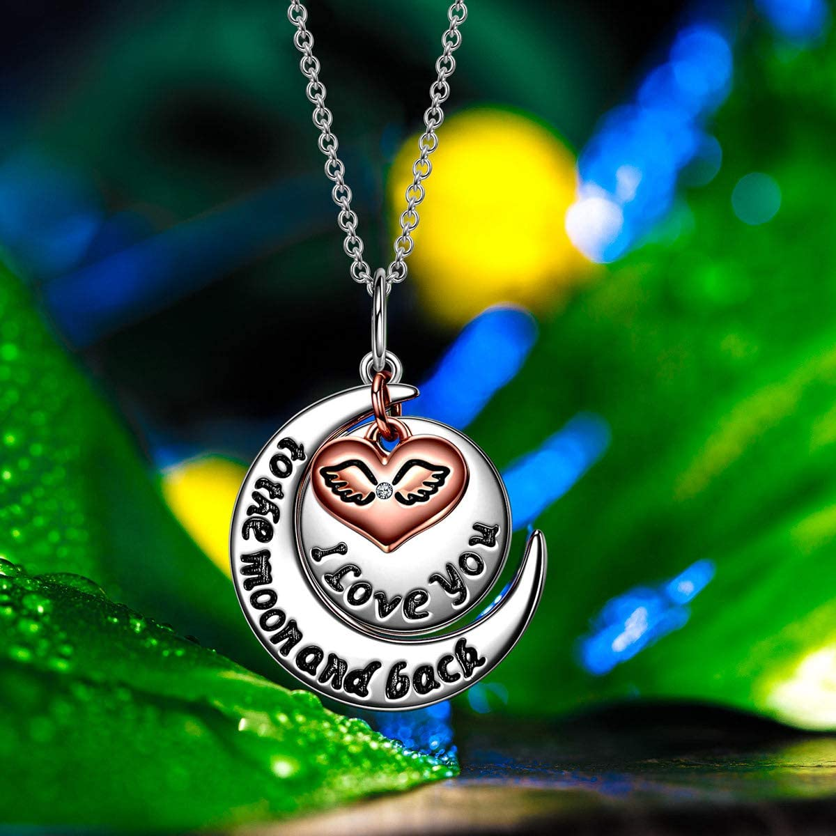 NINA MISS /♥I Love You to The Moon and Back Women Christmas Necklace Gifts 925 Sterling Silver Rose Gold Plated Charming Jewelry Gifts for Girlfriend
