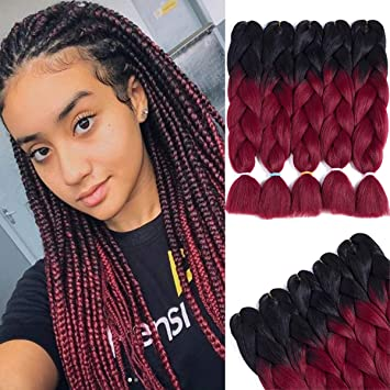Losmoeer 24 Inches Jumbo Braiding Twist Crochet Hair Extensions Black And Burgundy Mixed High Temperature Synthetic Fiber Hair For Jumbo Box Braids Twist Crochet Hair 24inch 5 Pcs Lot Beauty