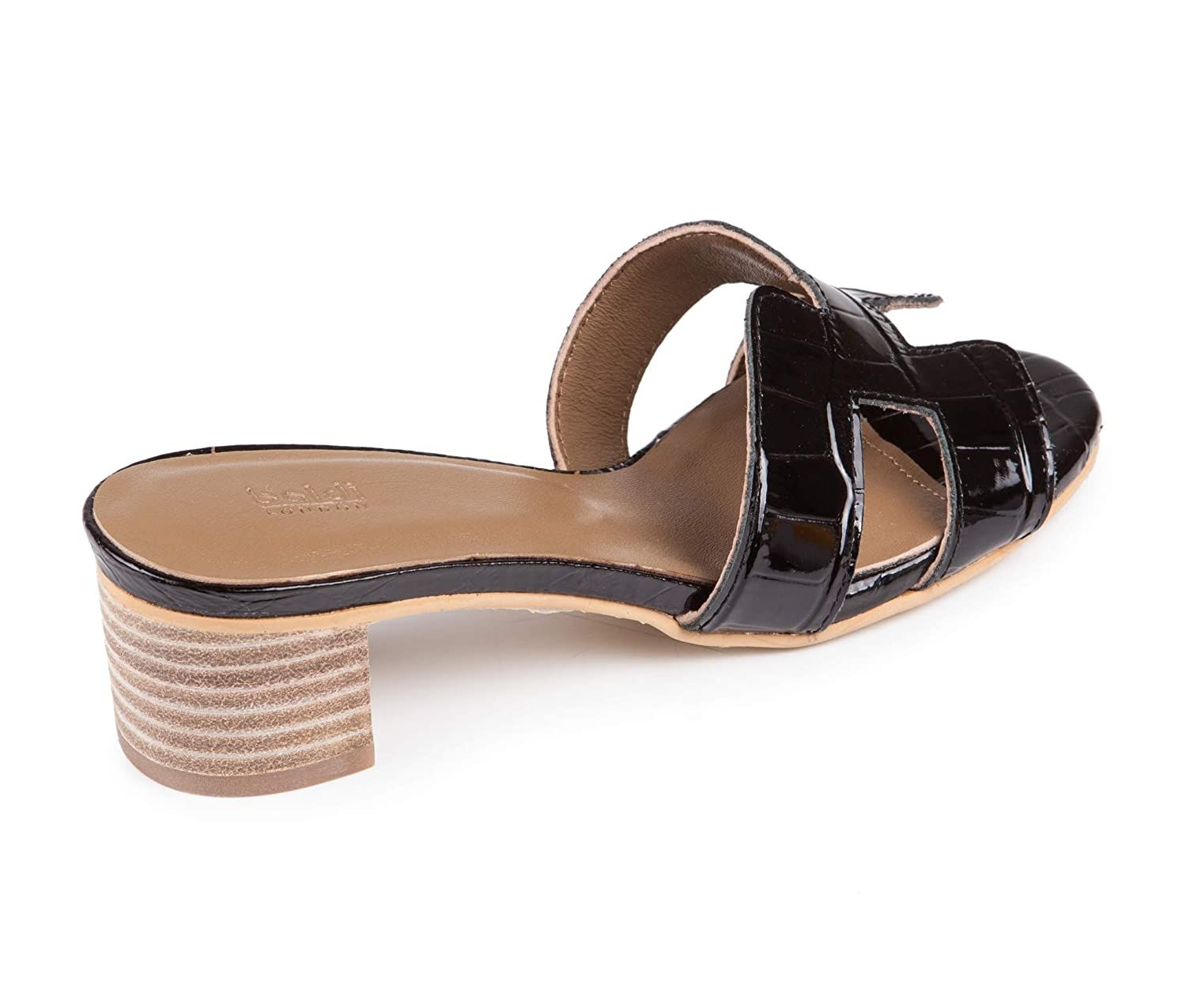 US 5 // EU 35 Baldi Womens Torquil Black Faux Leather Mid Wide Heel Ankle T Strap Open Toe Comfortable Summer Sandals Shoes