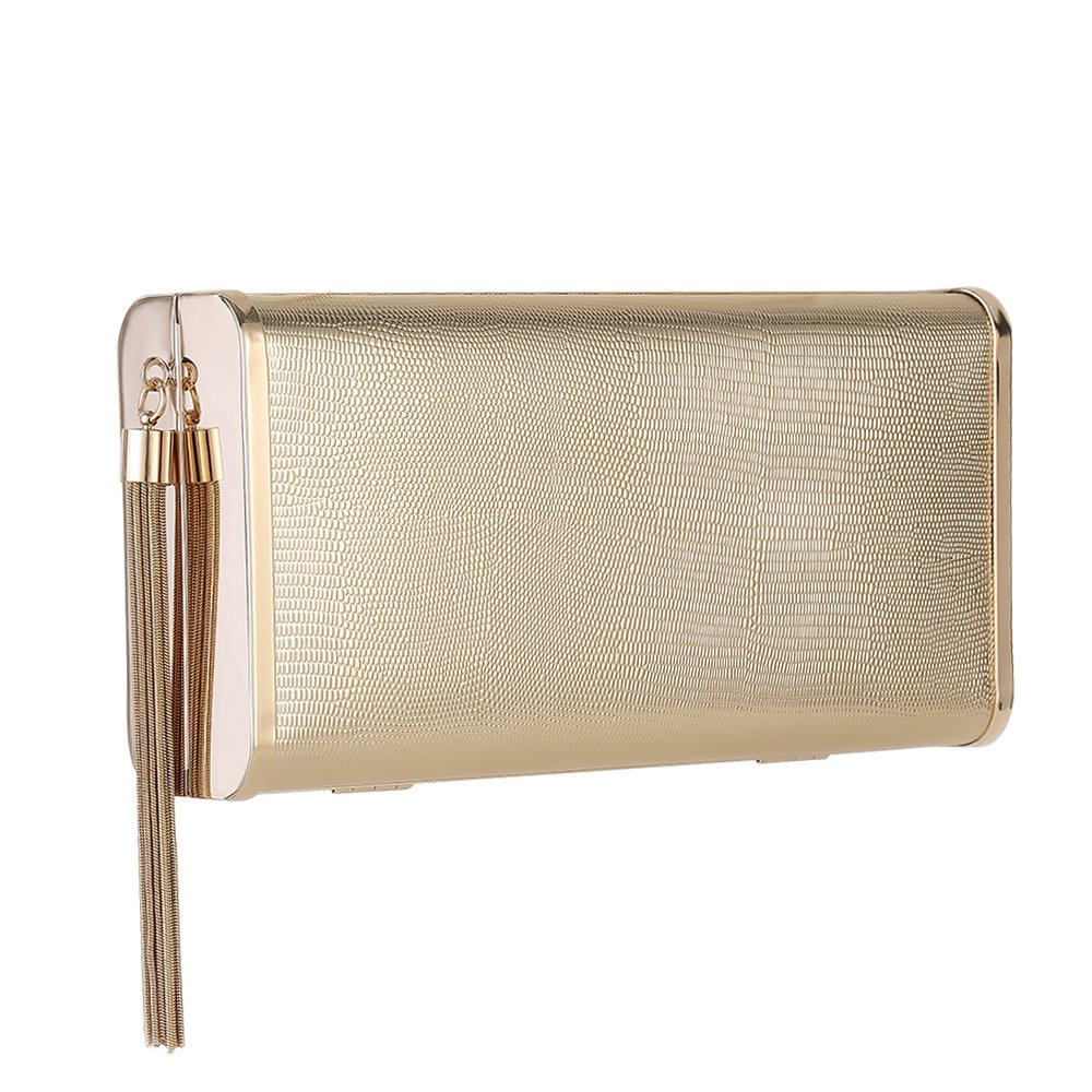 M10M15 Sparkly Gold Clutch Purse Handbag with Metal Tassel for Women, Crossbody Evening Bag in Hardcase with Strap Chain for Party