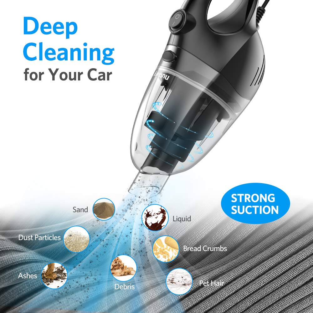 Nulaxy Car Vacuum Cleaner, High Power Strong Suction Vacuum Cleaner, Portable Lightweight Wet Dry Vacuum with 16.4 Ft Cord and Nozzles Set for Car Cleaning by Nulaxy (Image #2)
