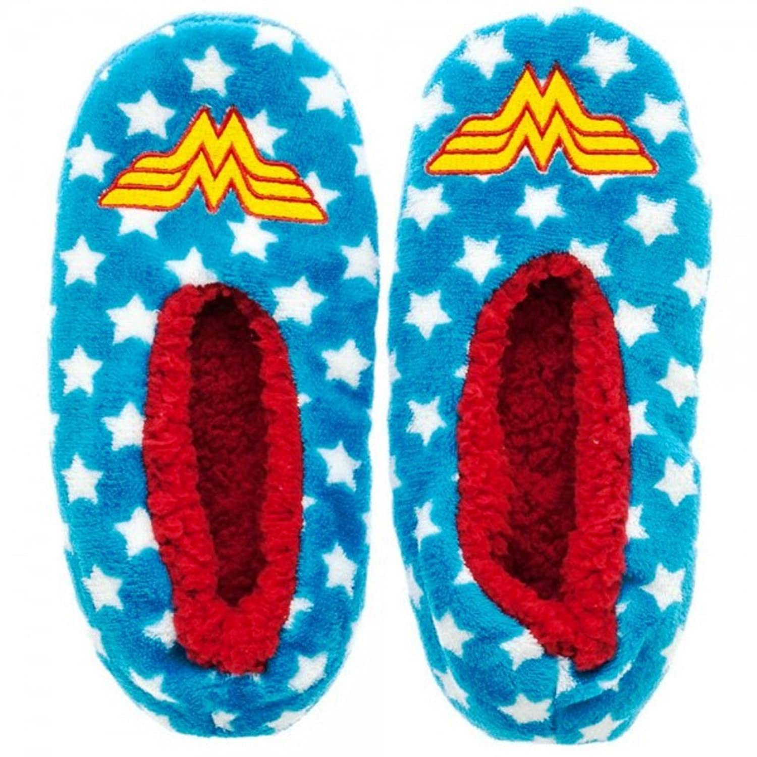 10a2079e37d DC Comics Wonder Woman Stars and Logo Plush Cozy Slippers 80%OFF ...