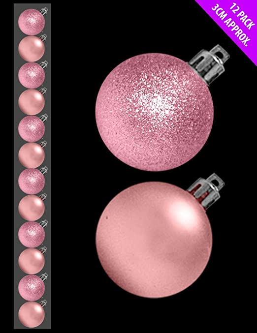 by Christmas Shop BABY PINK Gl.. BLUSH PINK Assorted Matt 12 x 3cm Mini Christmas Baubles