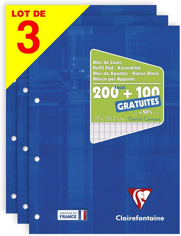 Clairefontaine 65819amzc Lot De 3 Blocs De Cours Encollés Grand Côté Couverture Carte 300 Pages 200 100 Gratuites 90g Grands Carreaux