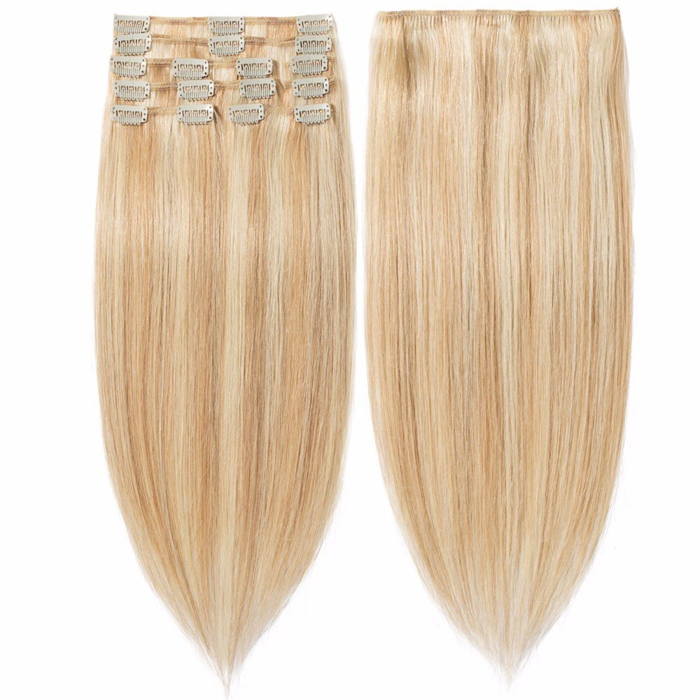 s-noilite 70g-120g 10 13 16 18 20 22 24 Inch Standard Weft Full Head Set 100% Remy Hair Clip Ins On Extensions Grade 5A For Beauty 8 Pieces 18 Clips(#60 Platinum Blonde 20 Inch 105g) S-noilite®