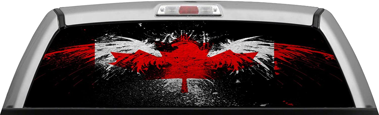 Canadian Flag rear window view thru graphic decal wrap