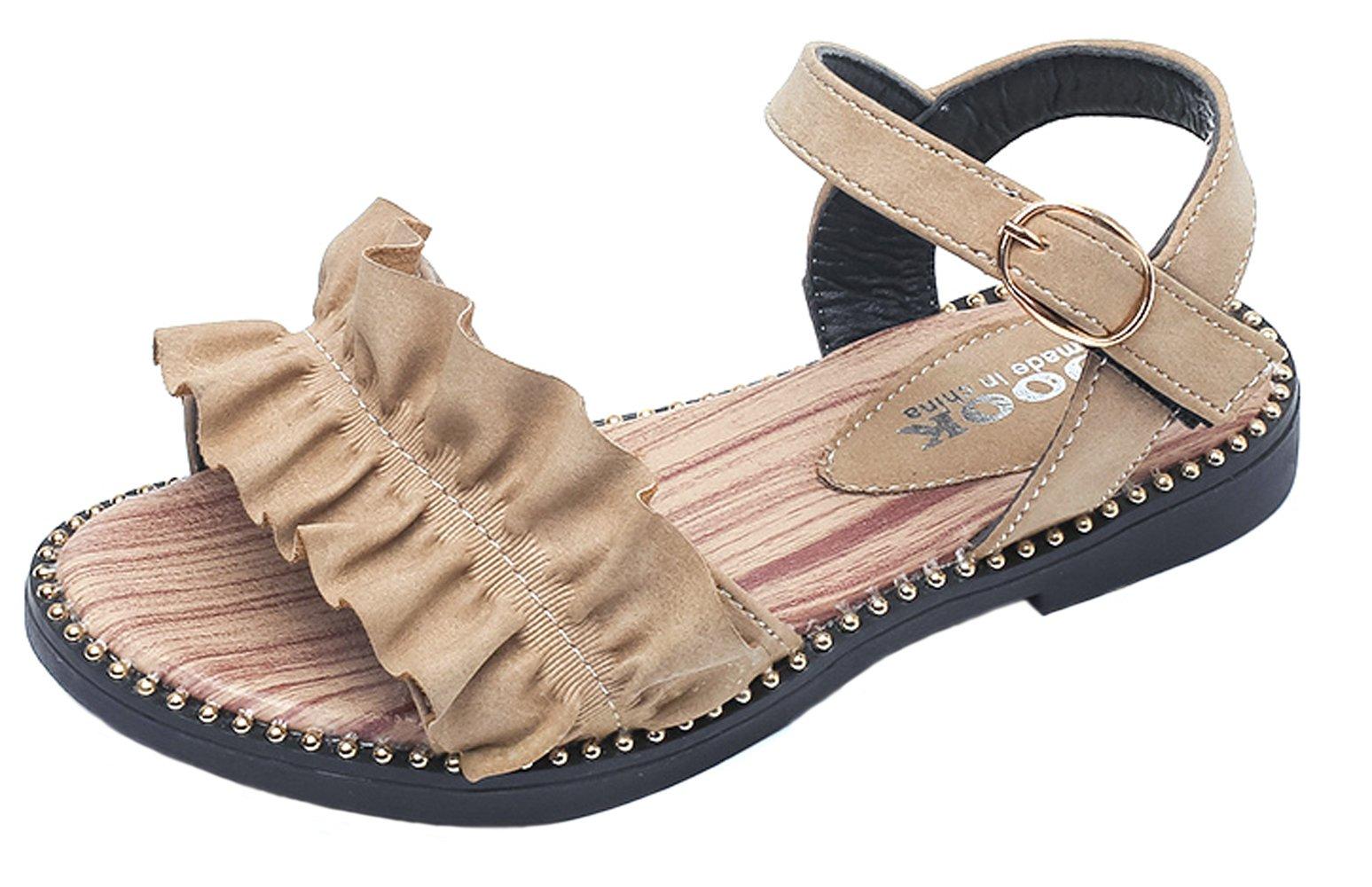 WUIWUIYU Girls Ankle Strap Buckle Flower Leather Walking Flat Sandals Open Toe Summer Princess Shoes