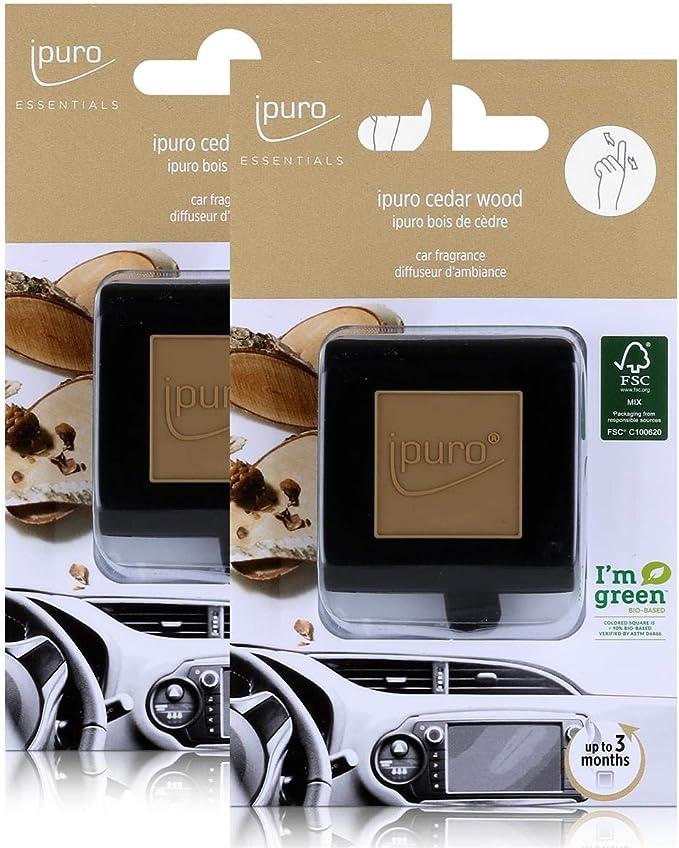 Essentials By Ipuro Car Line Autoduft Cedar Wood Holzige Noten Umschmeichelt Von Fruchtigen Und Blumigen Nuancen 2er Pack Küche Haushalt